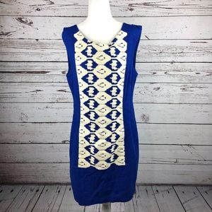 Plenty by Tracy Reese Blue Linen Embroidered Dress